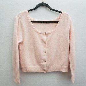 Kimchi Blue Cropped Blush Pink Cardigan SZ L